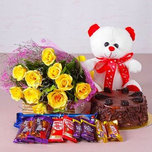 Midnight Delivery of Fresh Flowers with cake, teddy, chocolates in Ajmer