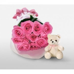 Giftzbag:Flower branches with teddy Delivery in Ajmer