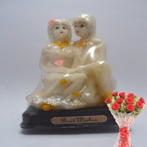 love couple set with flowers bunches