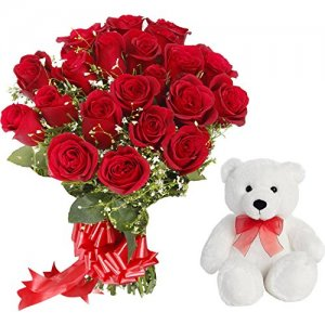Flower branches with teddy Delivery in Ajmer