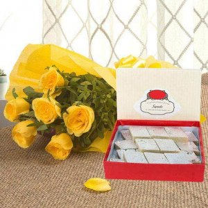 Giftzbag: Online Sweets with yellow flowers bunches Delivery in Ajmer