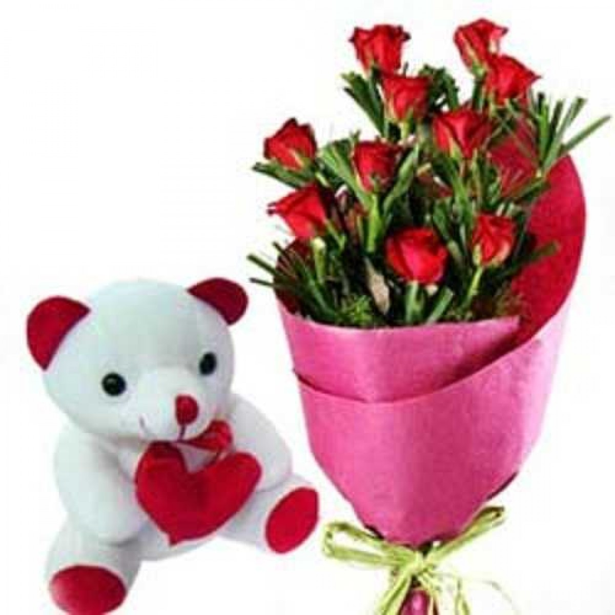 Red Rose Bunch With White Teddy Bear