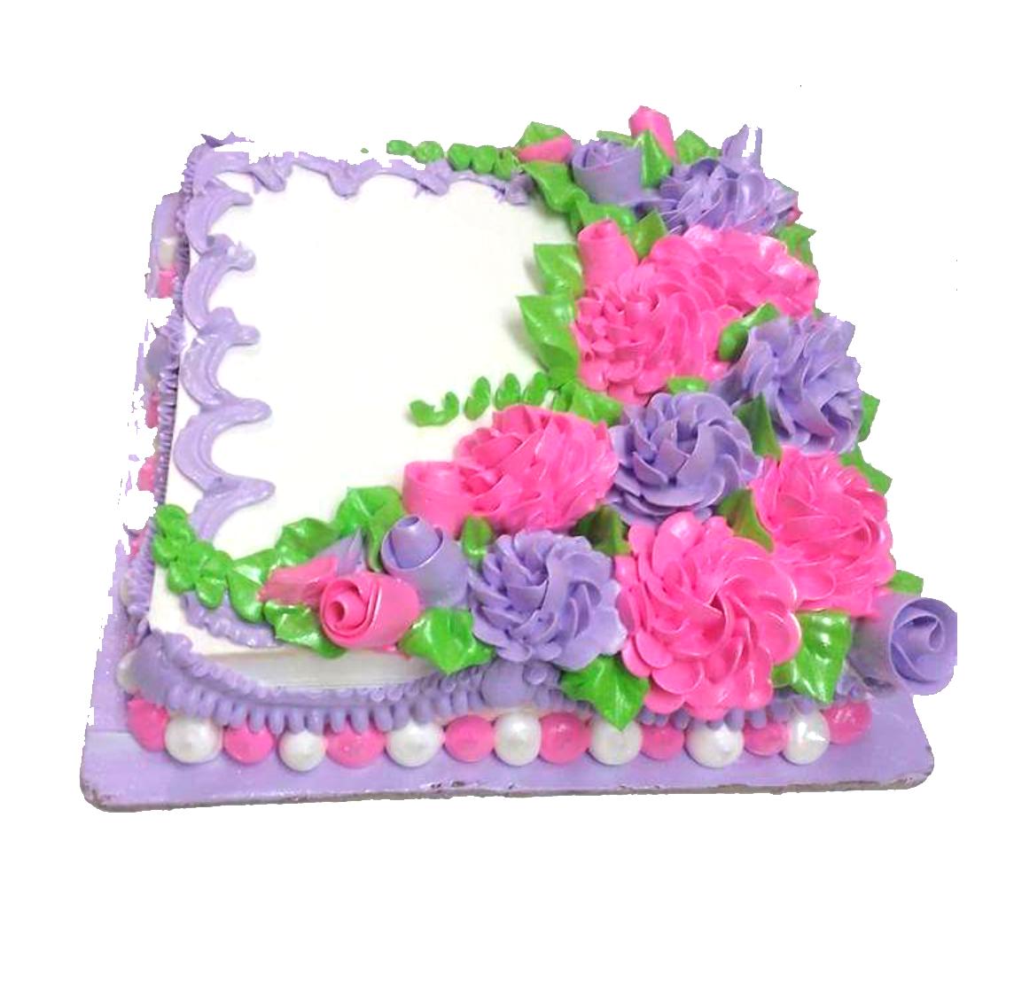 Square flowers cake izmirmasajfo Images