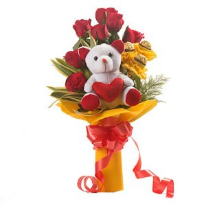 online red roses flowers bouquets with teddy delivery in India