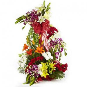 orchid,lily mix flowers arrangement