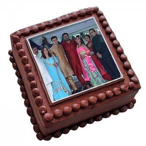 Square Chocolate Photo Cake