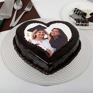 Family Theme Heart-Shaped Photo Cake