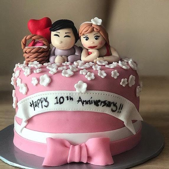 Tremendous Cute Couple Anniversary Cake Funny Birthday Cards Online Benoljebrpdamsfinfo