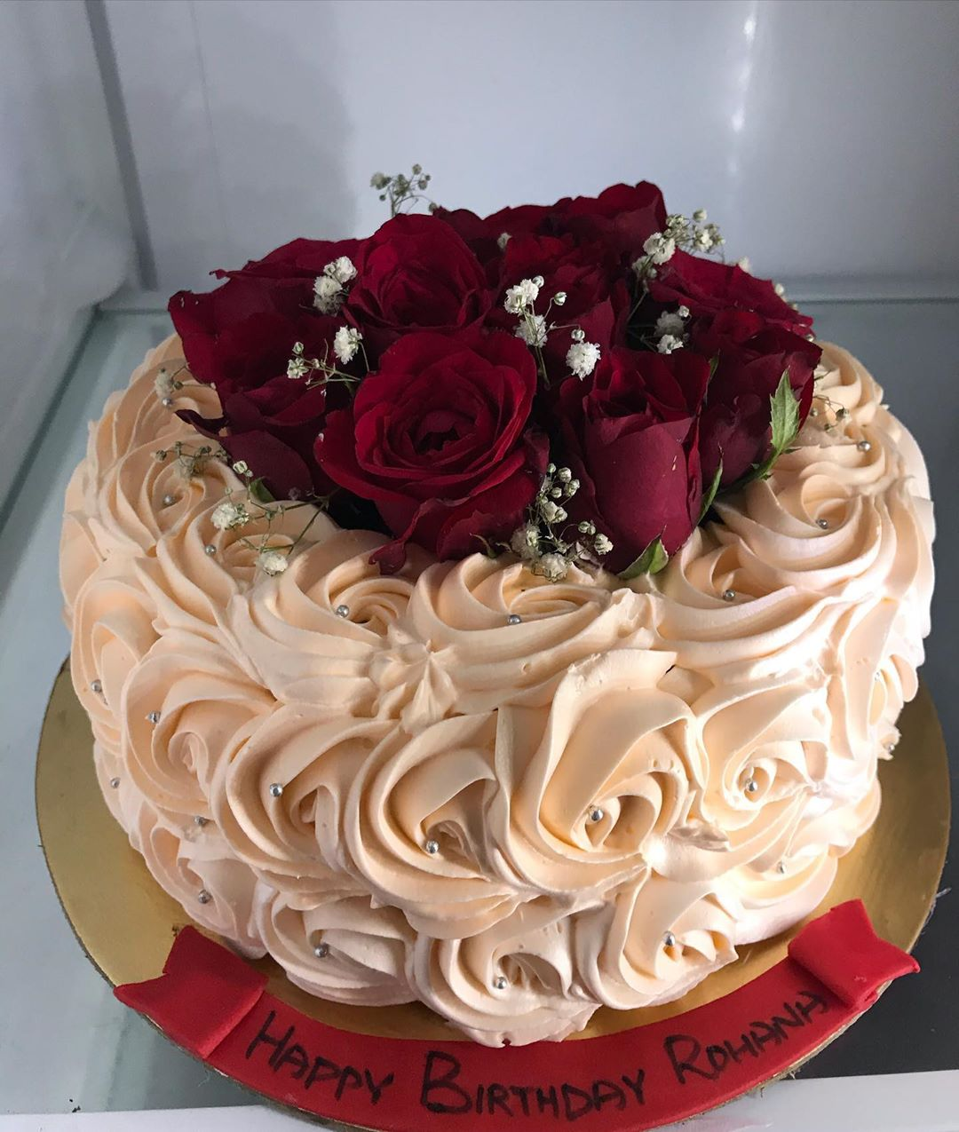 Astonishing Valentine Special Rose Cake Funny Birthday Cards Online Elaedamsfinfo