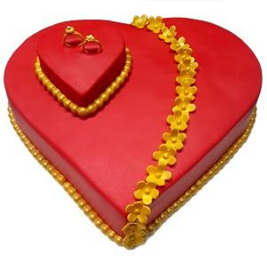 Heart Shaped Engagement Ring Cake