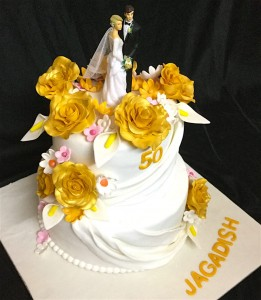Golden Flower Cake for Engagement