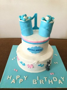 Twins Awaiting Baby shower cake