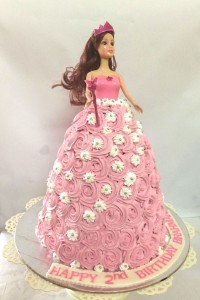 Pretty Barbie Cream Birthday Cake