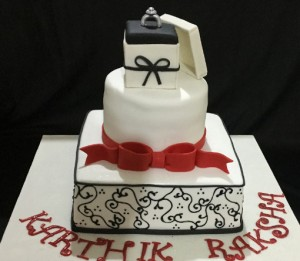 Black and White Engagement Ring cake