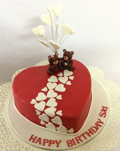 Red Hearts & Teddies Birthday Cake