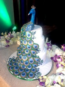Engagement Cake- Blue Peacock theme