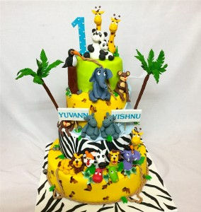 Multi-tier Birthday Cake Animal Theme