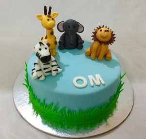 Wild Animal Theme Birthday Cake