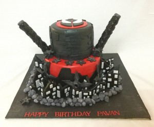 2Tier Birthday Cake Deadpool theme