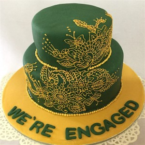 Ethnic Design green Wedding Cake
