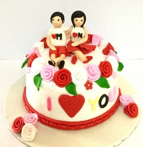 M & N love & Romance Valentine Cake
