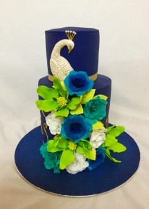 Elegant Peacock wedding cake
