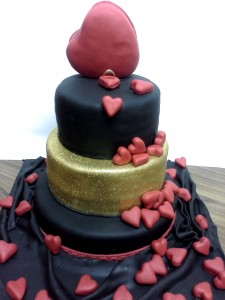 Red Hearts Engagement Cake