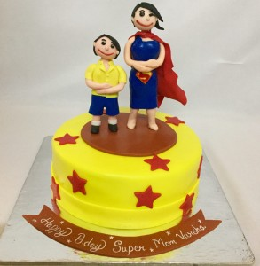 Supermom themed Birthday cake