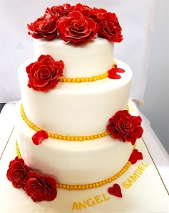 Red Rose Engagement Cake