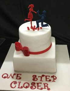 One Step Closer Engagement Cake