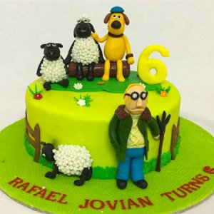 5th Birthday  Shaun the Sheep theme Cake
