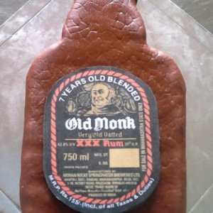 Old Monk Bottle Cake