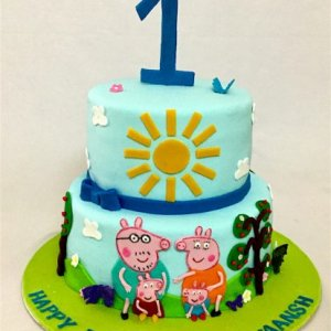1st Birthday Peppa Pig Theme Birthday Cake