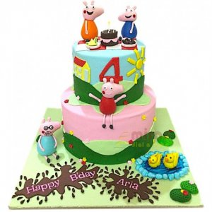 4th Birthday Customized Peppa Pig Cake