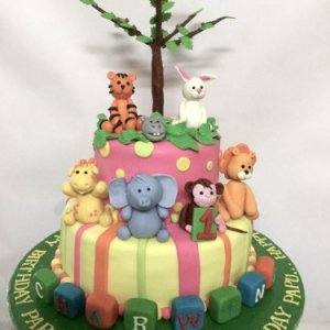 Happy Birthday Animal Theme Cake