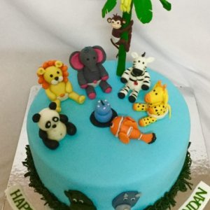Kid's Happy Birthday Animal Theme Cake