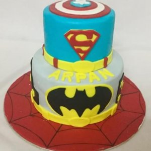 Superman and Batman Theme 2 tier Birthday Cake