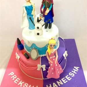 Happy Birthday 2 Tier Frozen Theme Cake