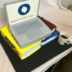 Laptop and Books Cake