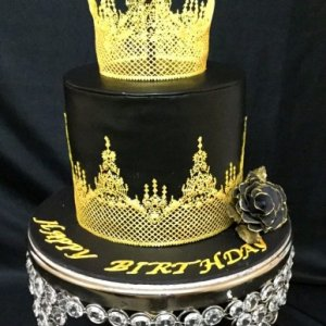 1st Birthday  Black and Gold tiara Cake