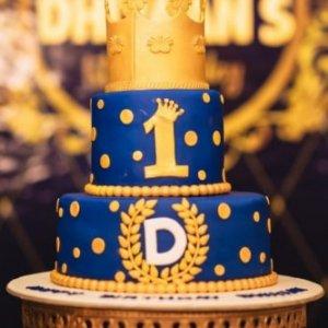 Custom Birthday Cake Royal blue & gold