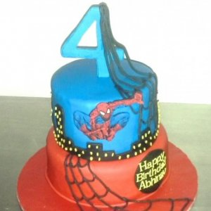 Spiderman Theme 2 tier Birthday Cake