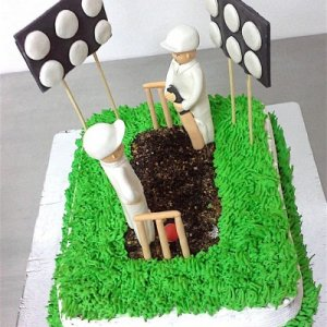 Cricket Pitch Theme Birthday Cake