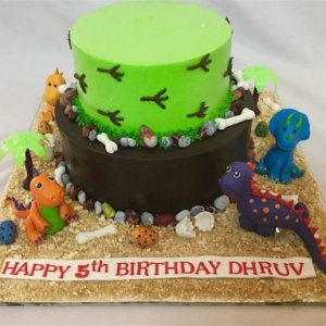 Dinosaur Theme Birthday Cream Cake