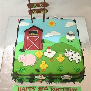 Nathan's 2D Farm Birthday Cake