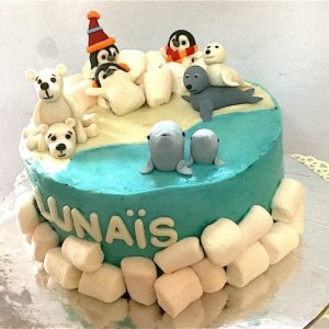 Polar Animals Theme Birthday Cake
