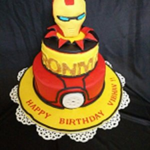 Lighted Iron Man 2 tier cake 2.5kg