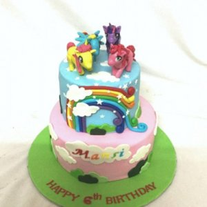 1st Birthday  Ponies theme Cake