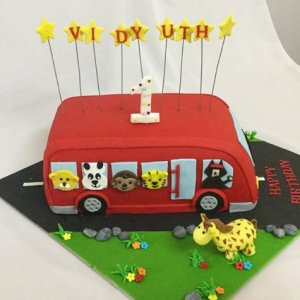 1st Birthday cake Bus theme