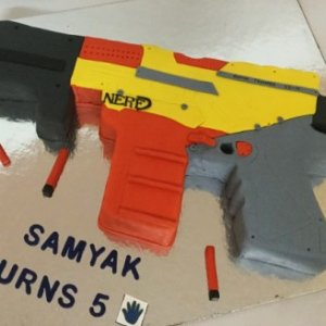 Gun shaped Birthday cake